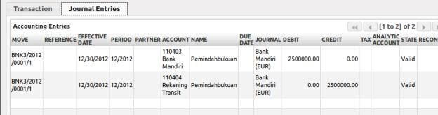 Journal Entries Untuk Pemindahbukuan Bank Mandiri