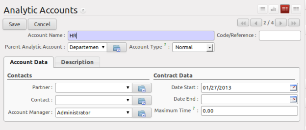Form Analytic Account