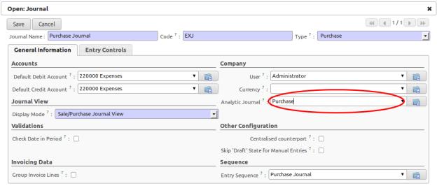Memasangkan Account Journal Dengan Analytic Journal