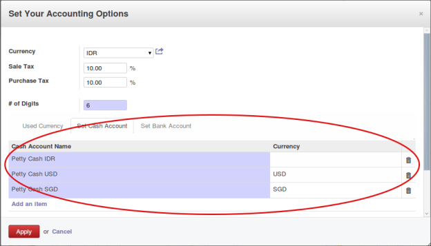 Cash Account Selection