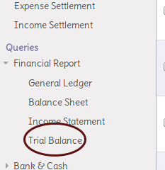 Menu Query Trial Balance