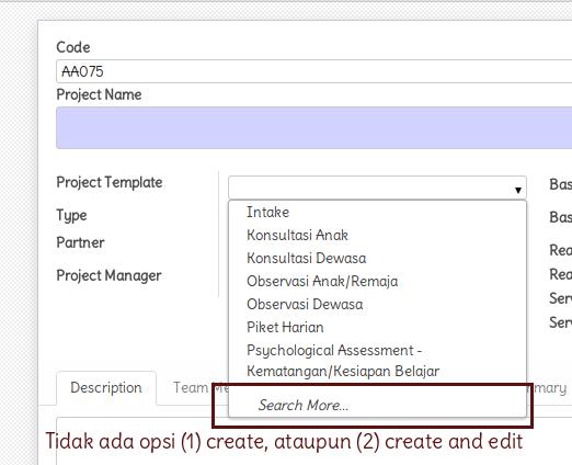 Tidak ada opsi create ataupun create and edit